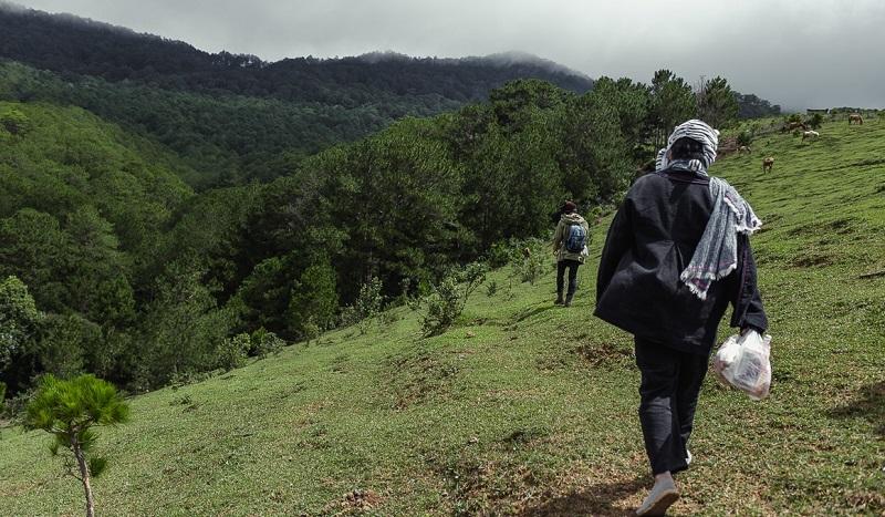 Đường bên đồi từ VQG Bidoup Núi Bà