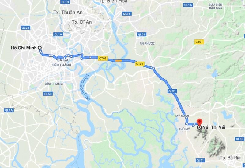 Bản đồ di chuyển từ TP Hồ Chí Minh đến núi Thị Vải
