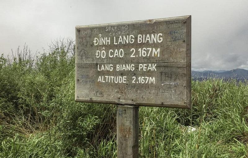 Biển gỗ thông báo đỉnh Langbiang cao 2167m