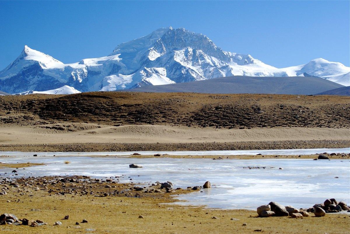 dãy Shishapangma xa xa và dòng sông băng