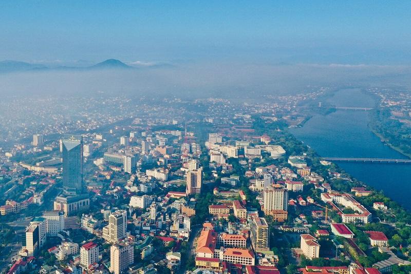 Một góc thành phố Huế nhìn từ trên cao