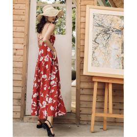 Váy hở lưng dài BAL03A hoa đỏ