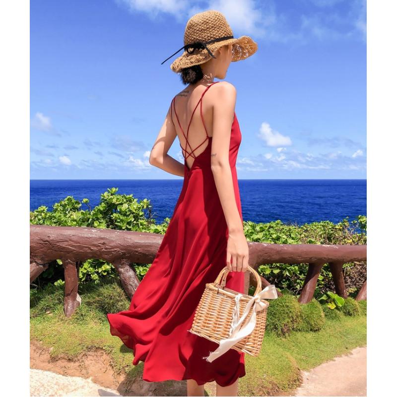 Váy hở lưng dài BAL03B Red