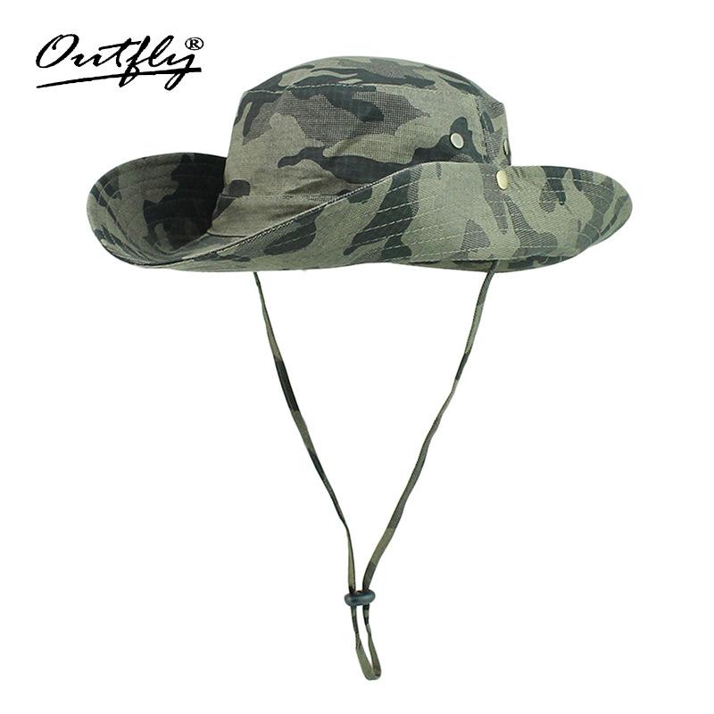 Mũ nón Bucket tai bèo rộng vành Outfly B1003C carmo army green