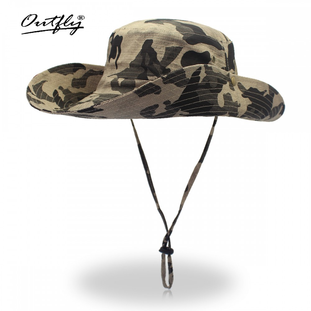 Mũ nón Bucket rộng vành tai bèo Outfly B1003B camou beige