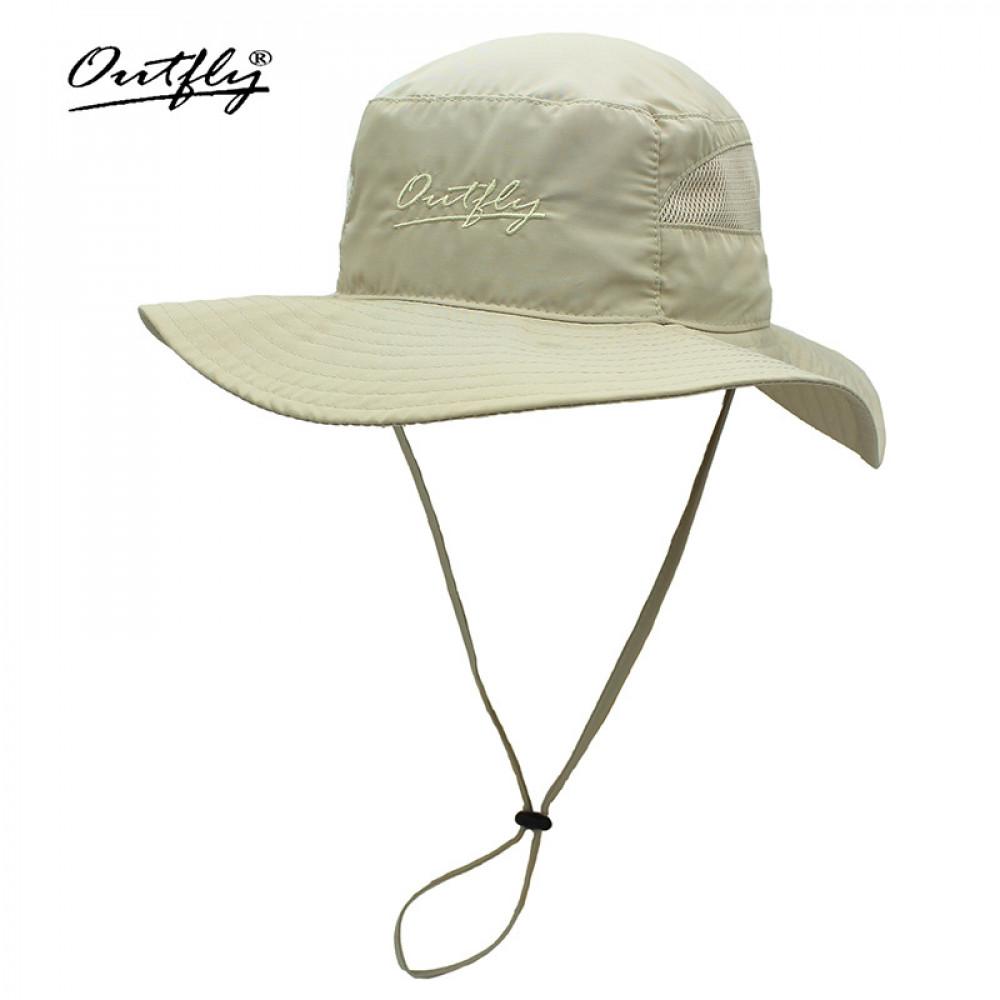 Nón Bucket nữ Outfly B18001C Khaki tai bèo rộng vành