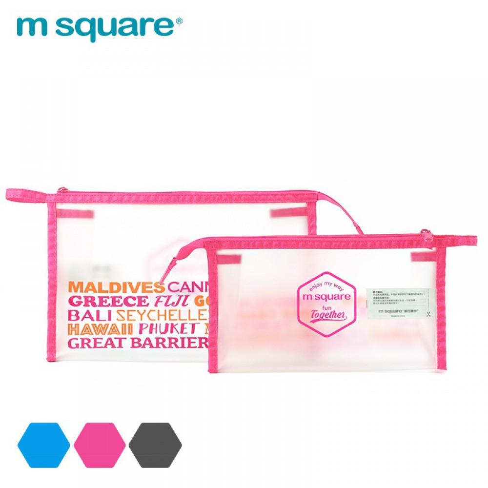 Túi đựng mỹ phẩm trong suốt Msquare Pink