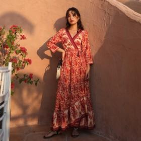 Váy dài đi biển họa tiết BLD01