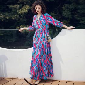 Váy dài đi biển họa tiết BLD02A