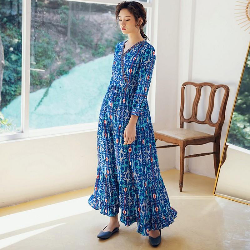 Váy Dài Đi Biển Họa Tiết BLD02C