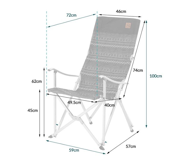 Kích thước của ghế dựa xếp Kazmi K3T3C025BK