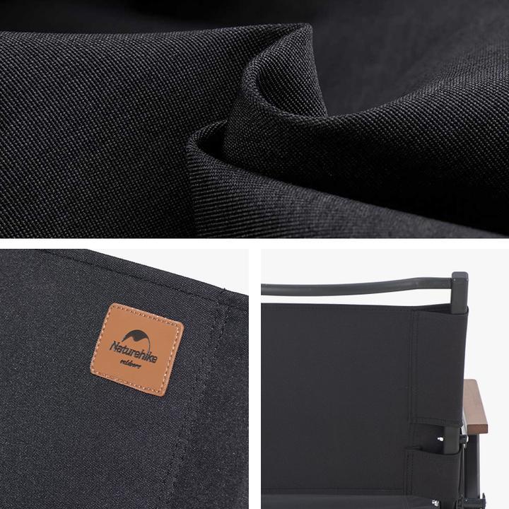 Chất liệu vải bề mặt ghế xếp đen Naturehike NH21JJ002 rất dày dặn