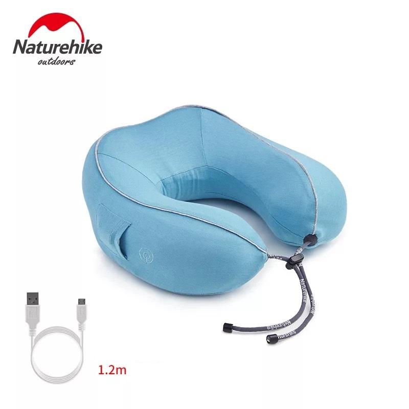 gối massage cổ chữ u màu xanh