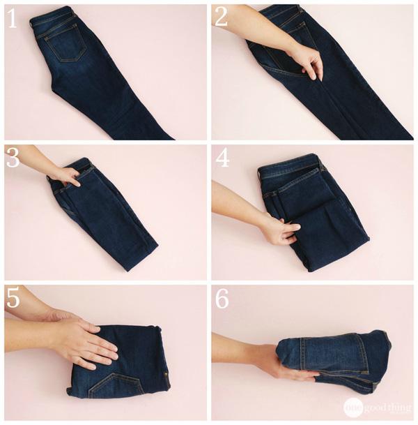 Cách gấp quần jeans