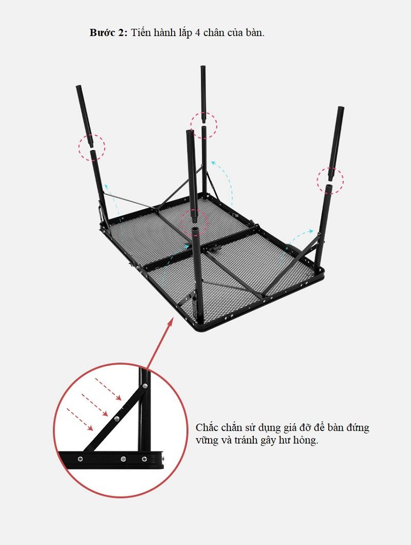 cách lắp đặt Bàn xếp dã ngoại 2 gấp có lưới đựng đồ Kazmi K20T3U003
