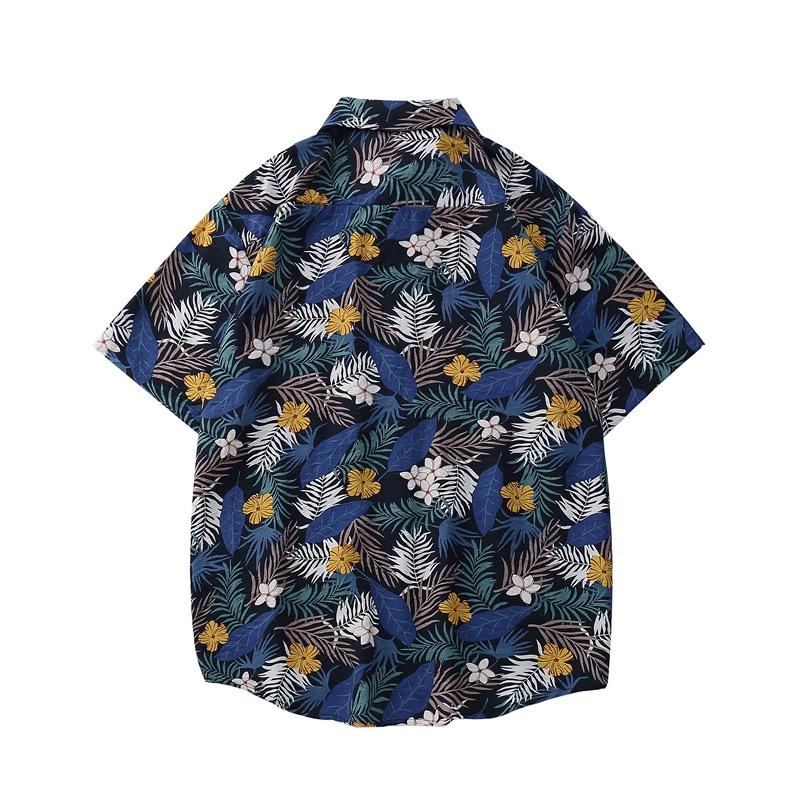 Thiết kế mặt sau của áo sơ mi hoa đi biển Sear xanh 1122