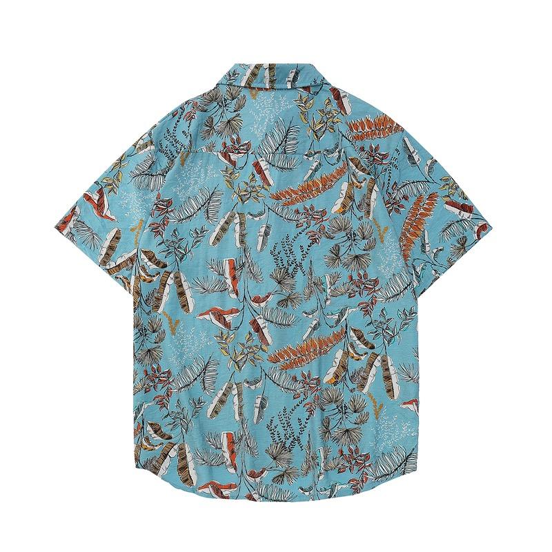 Thiết kế mặt sau của áo sơ mi đi biển nam sear xanh 1117