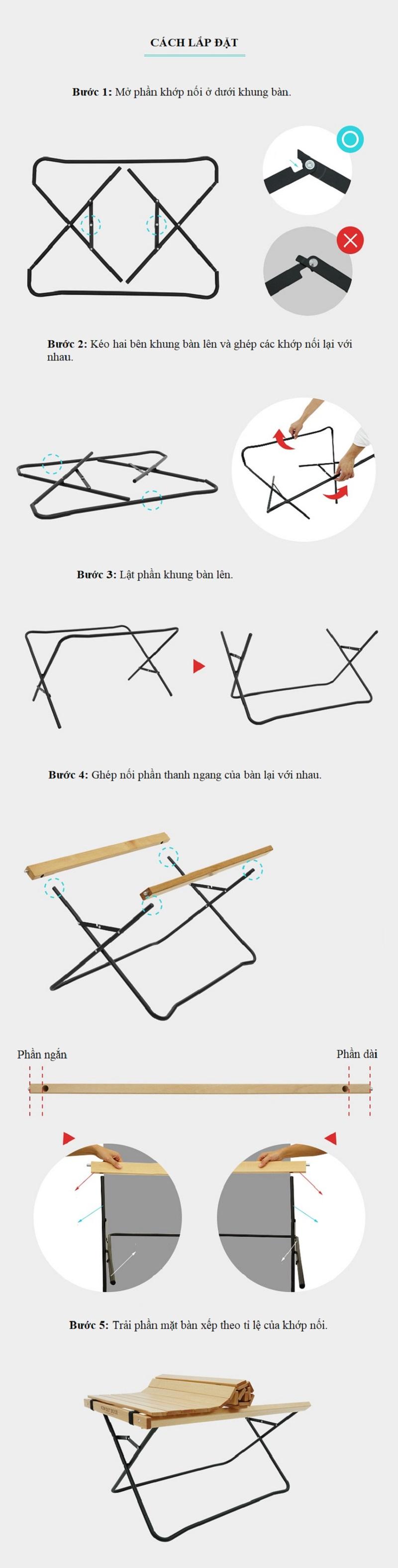 cách sử dụng Bàn gỗ chân xếp gấp gọn Kazmi K20T3U014