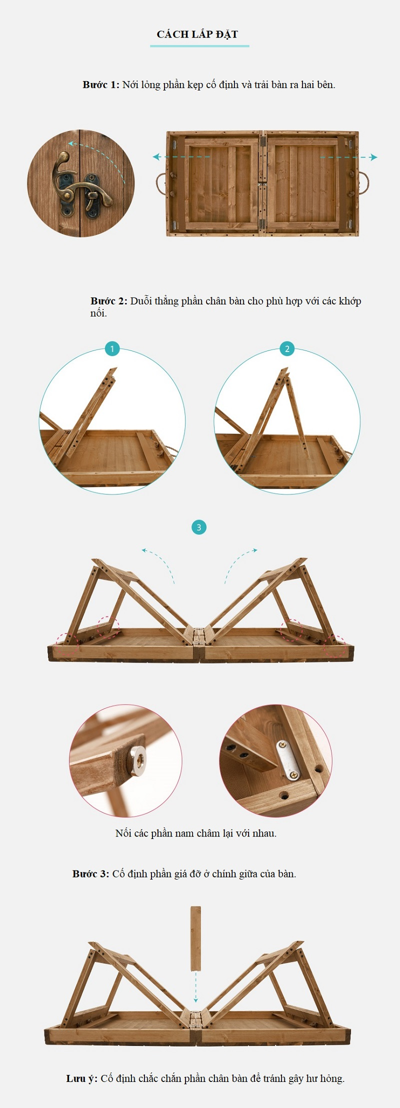 cách lắp đặt Bàn xếp gỗ mini nhỏ gọn du lịch, dã ngoại Kazmi K21T3U01