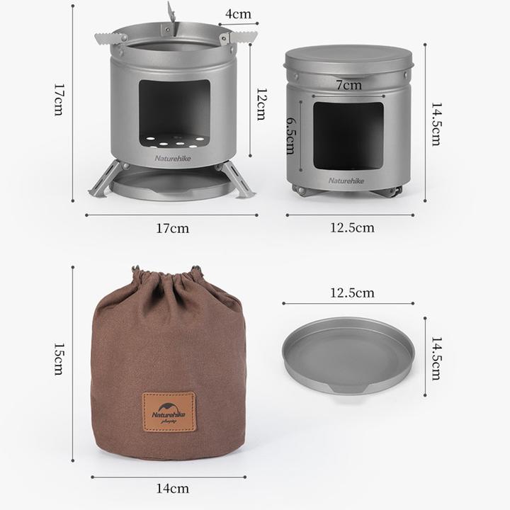 Kích thước của bếp củi mini Naturehike NH20RJ005