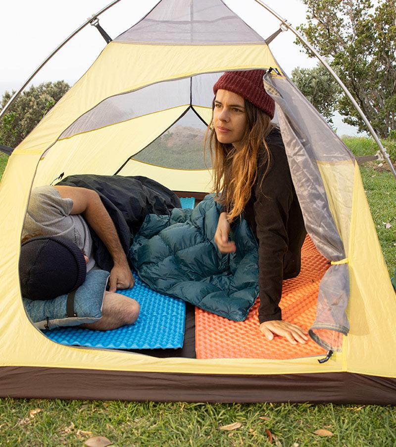 Đệm nền trong lều trại tạo không gian thư giãn thoải mái