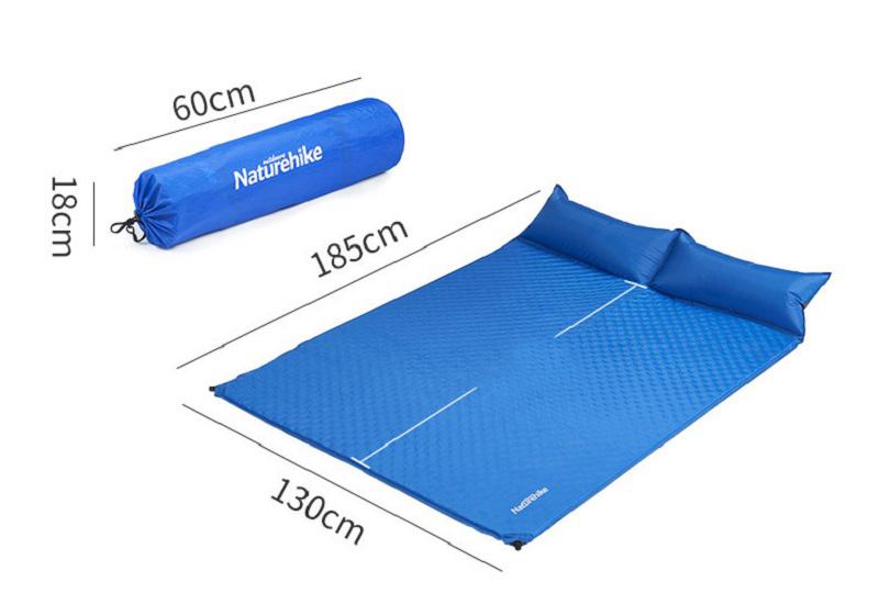 Kích thước khi sử dụng là 185cm * 130cm, kích thước gấp gọn là 60cm * 18cm