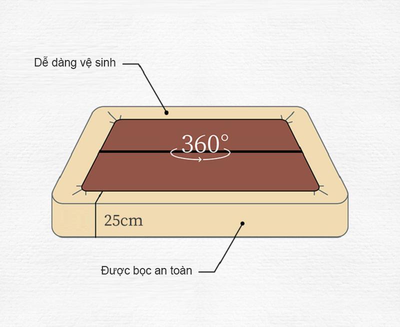 Đệm hơi có kích thước lớn, độ dày 25cm, được bọc một lớp vải ngoài