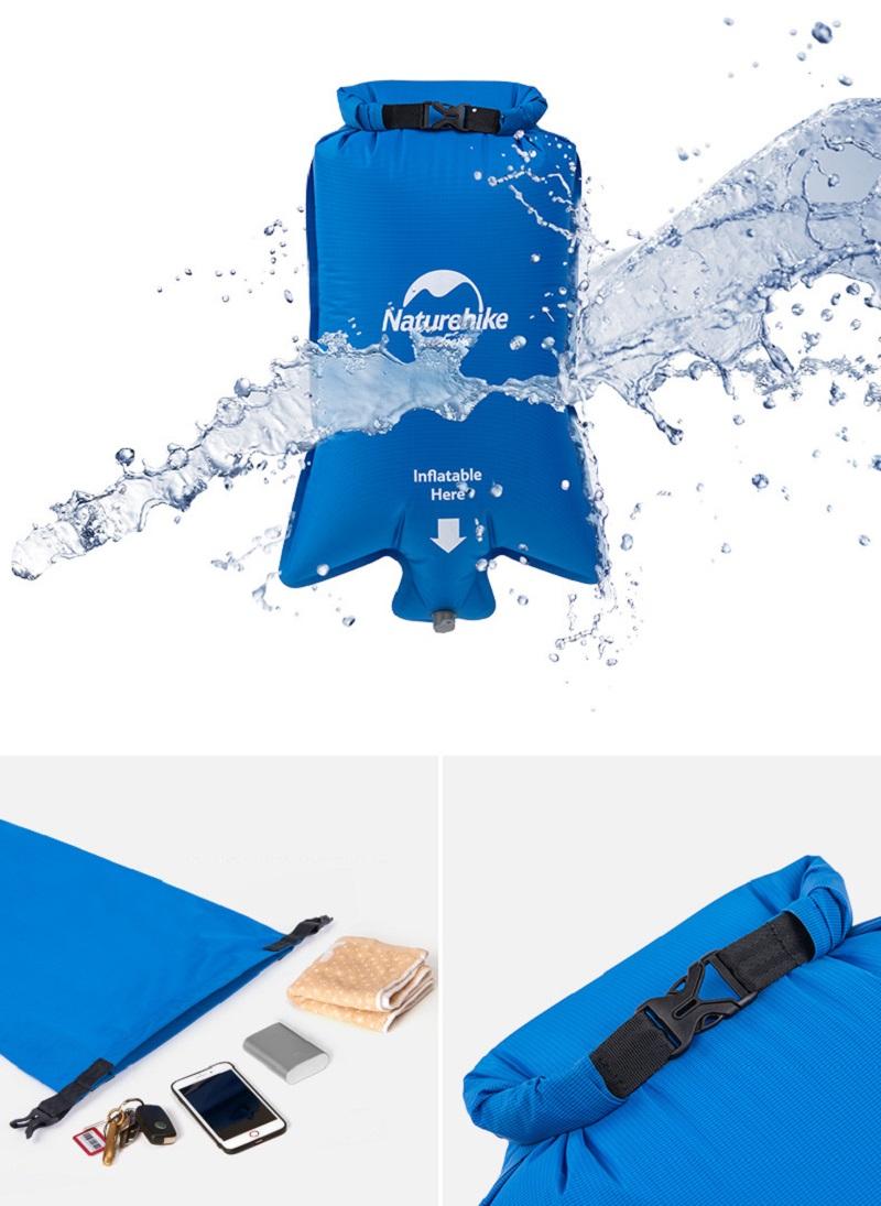 Túi bơm khí chống nước, vừa dùng để bơm khí vào đệm vừa có thể đựng đồ dùng cá nhân