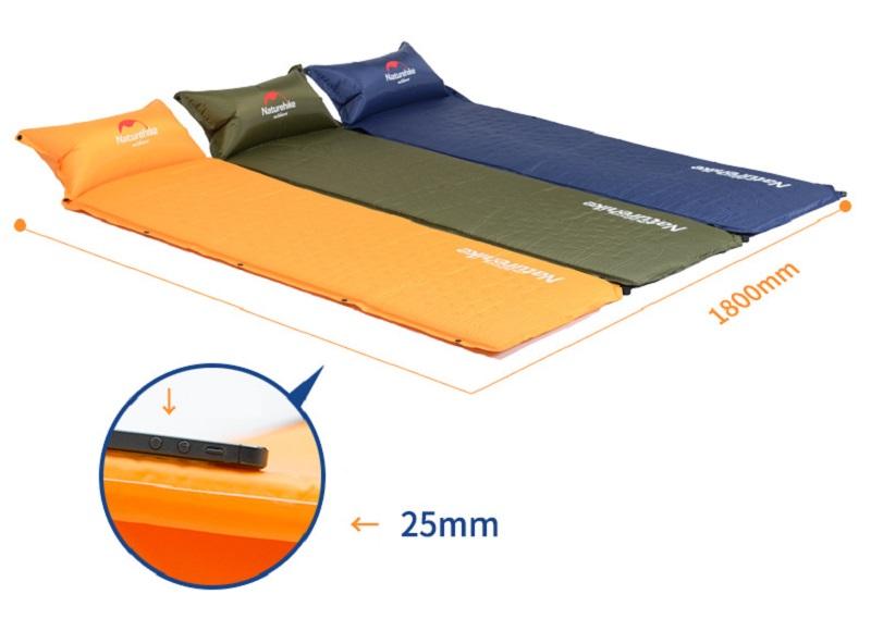 Độ dày 2,5cm và có thể ghép nhiều đệm vào với nhau thành tấm đệm lớn