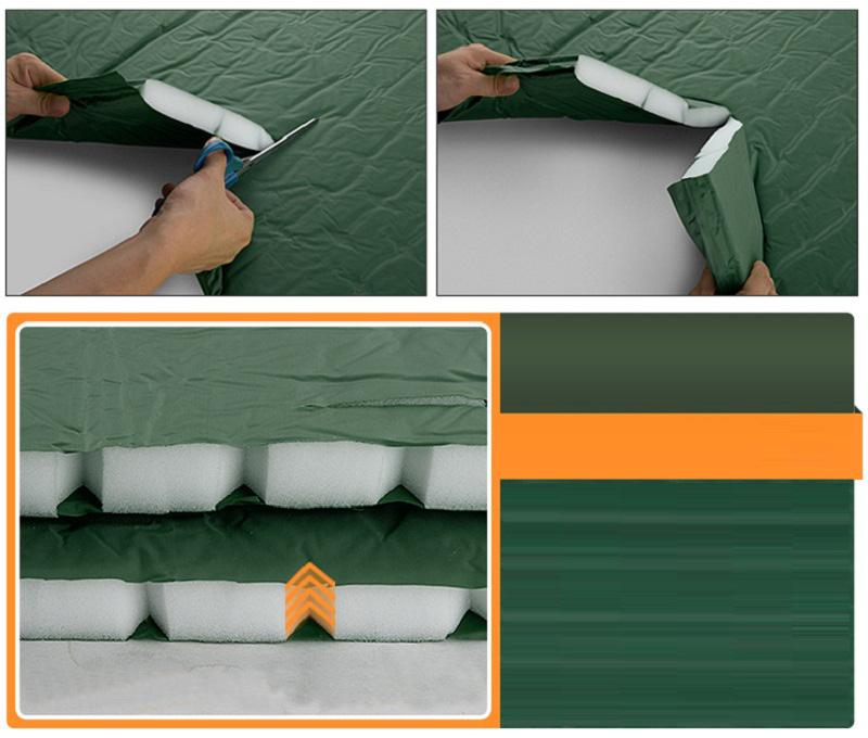 Vải ngoài màu anh rêu, chất liệu 190T Polyester Taffeta tráng nhựa PVC, ruột bọt biển Bayer trắng tinh