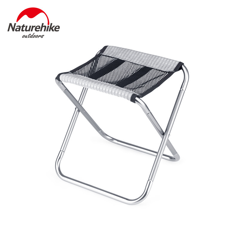Ghế xếp mini du lịch Naturehike NH20JJ006 chân chữ X, khung nhôm, vải lưới màu đen