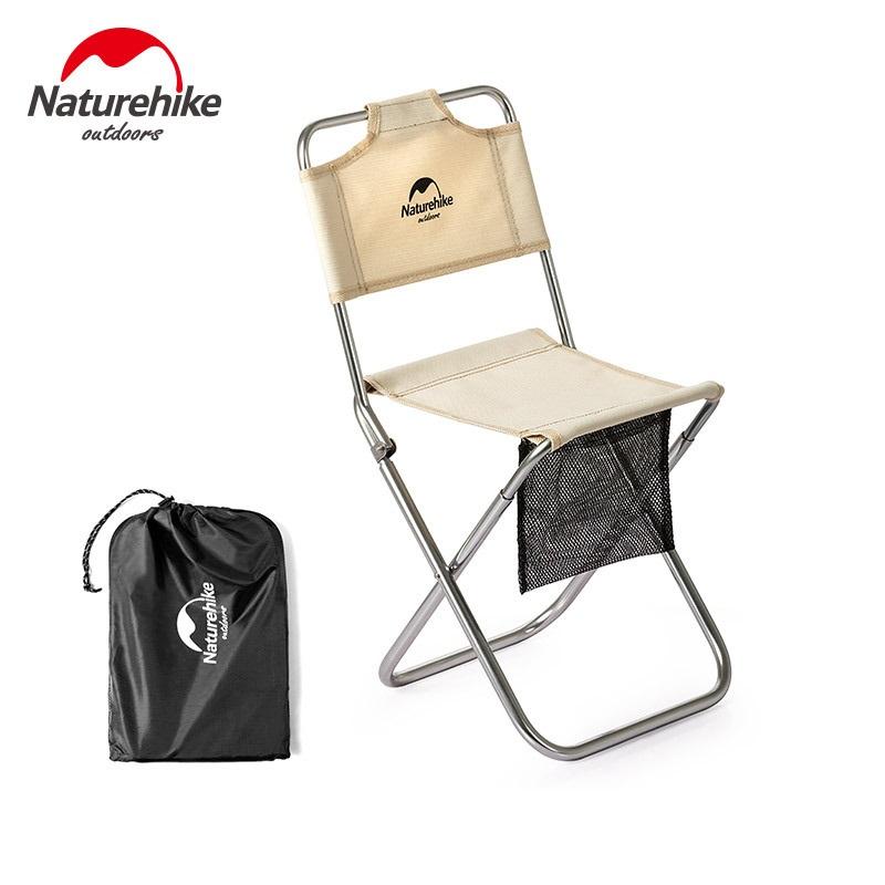 Ghế xếp nhỏ có lưng tựa Naturehike NH18M001Z màu kaki, có túi đựng màu đen bên cạnh