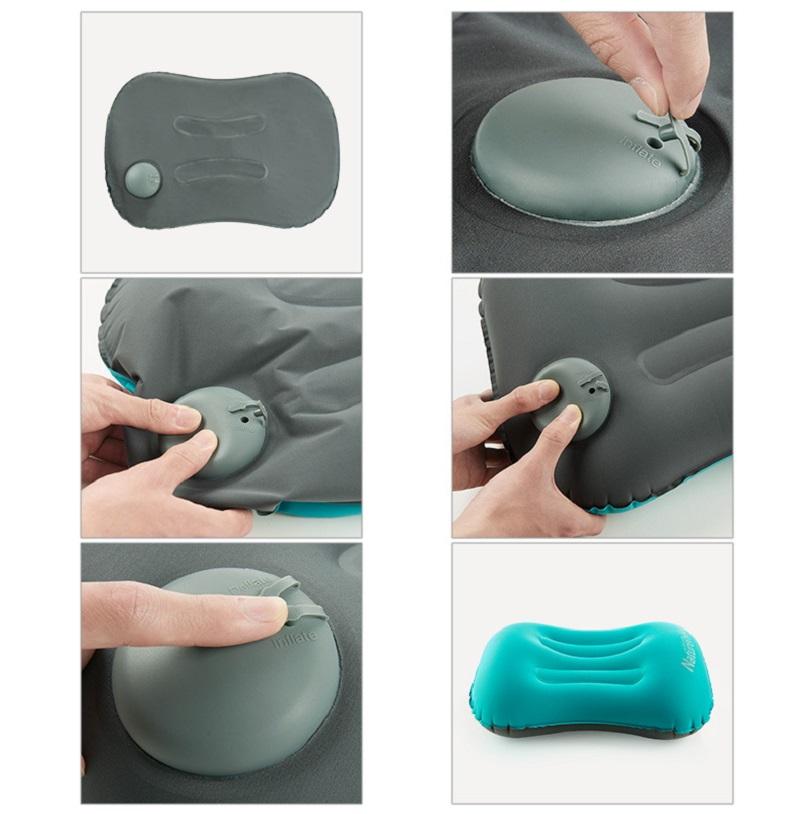 Hướng dẫn bơm hơi vào gối bằng cách dùng 2 ngón tay ấn nhẹ nhiều lần