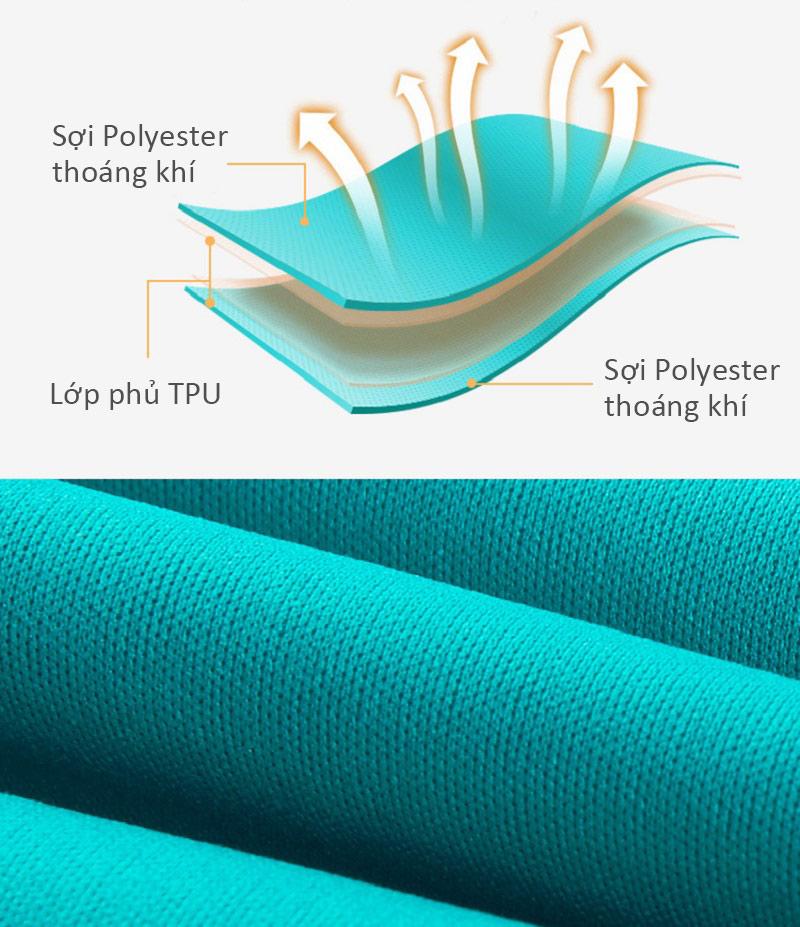 Chất liệu vải màu xanh là sợi Polyester phủ TPU