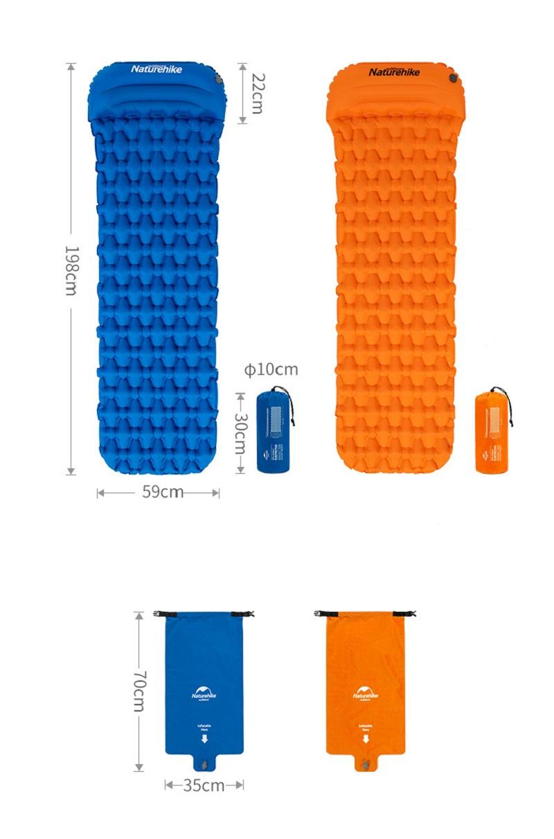Kích thước size M và khi gấp gọn của đệm hơi