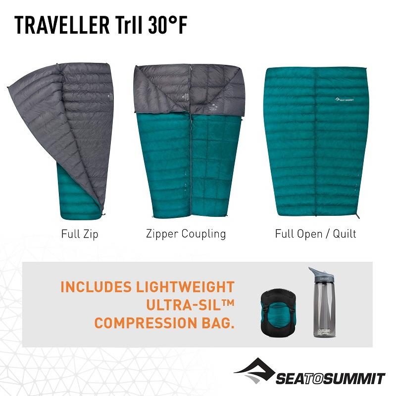 Túi ngủ Sea to Summit Traveller TrII STMTR207 với thiết kế hình chữ nhật, có thể sử dụng như một chiếc chăn khi cần