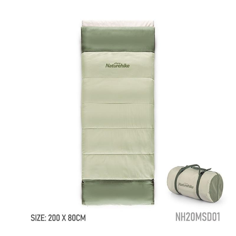 Kích thước túi ngủ màu xanh là 200cm * 80cm, có túi đựng bên cạnh