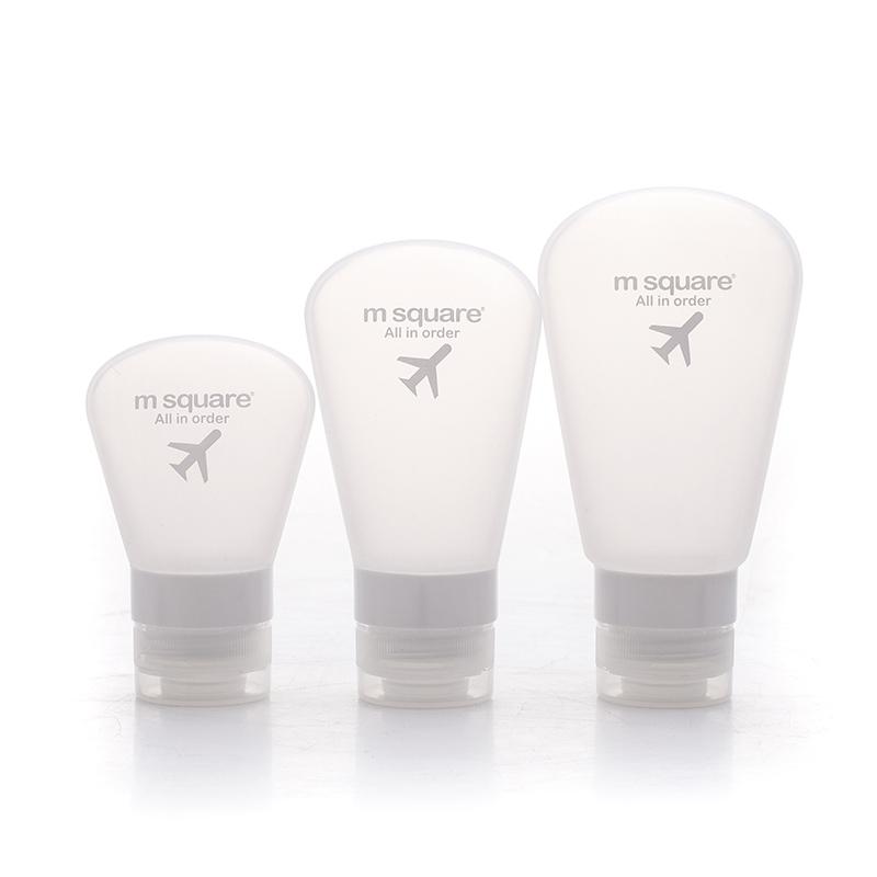 Bộ 3 bình chiết mỹ phẩm Msquare silicone màu trắng.