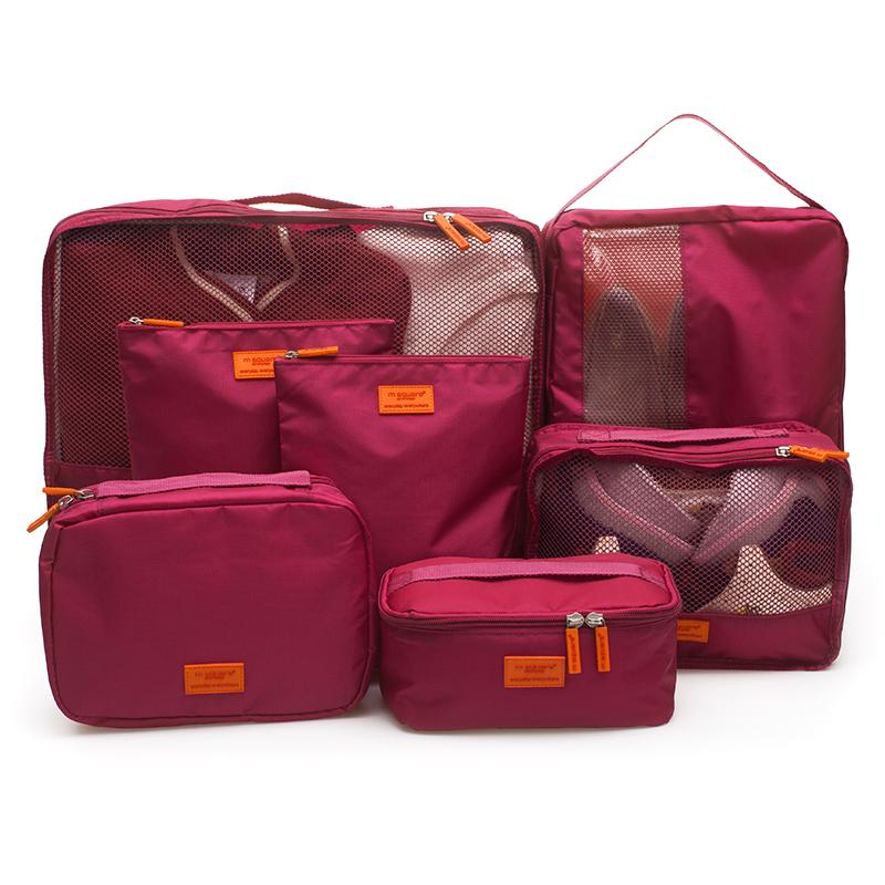 bộ 7 túi du lịch đa năng Msquare màu đỏ