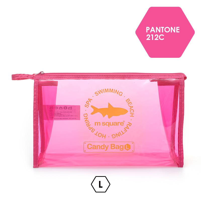 túi du lịch mini trong suốt Msquare màu hồng