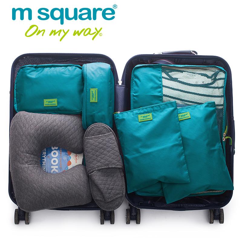 Set 5 túi Msquare màu xanh dương tiện dụng giúp bạn sắp xếp quần áo trong vali