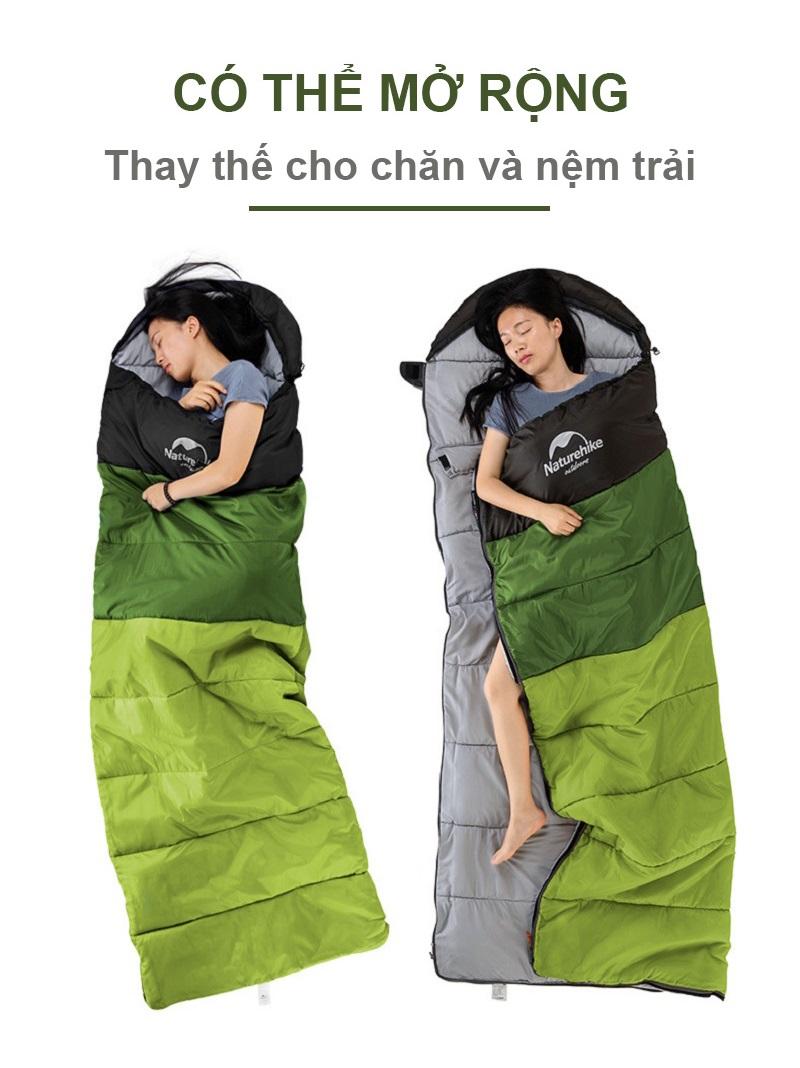 cô gái ngủ ở cả hai tư thế khi dùng túi ngủ