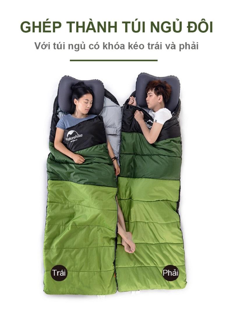 cô gái và chàng trai ngủ ngon trong chiếc túi ngủ chính hãng Naturehike