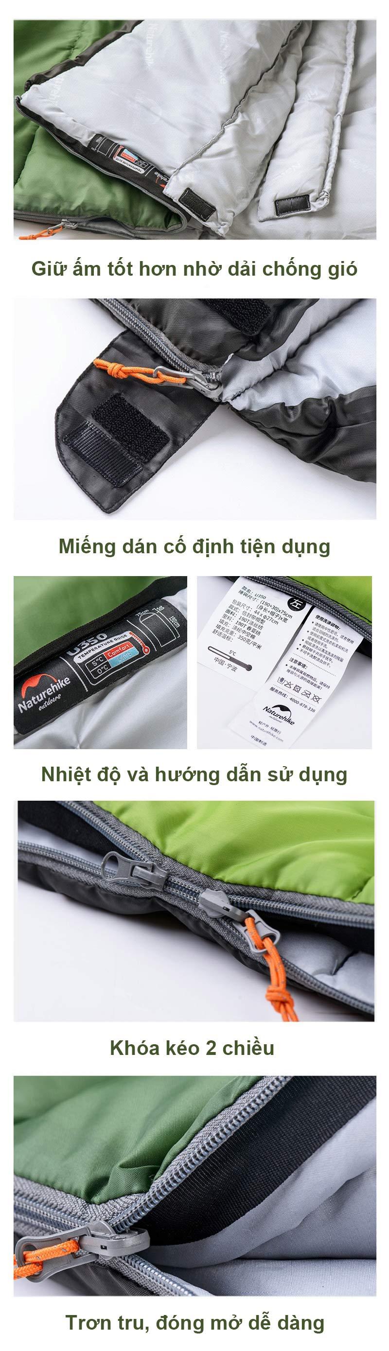 miếng dán giúp giữ ấm của túi ngủ Naturhike U250