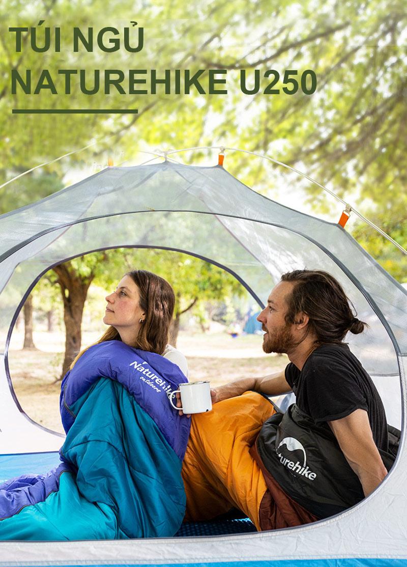 cô gái và chàng trai đang sử dụng túi ngủ và trong lều Naturehike