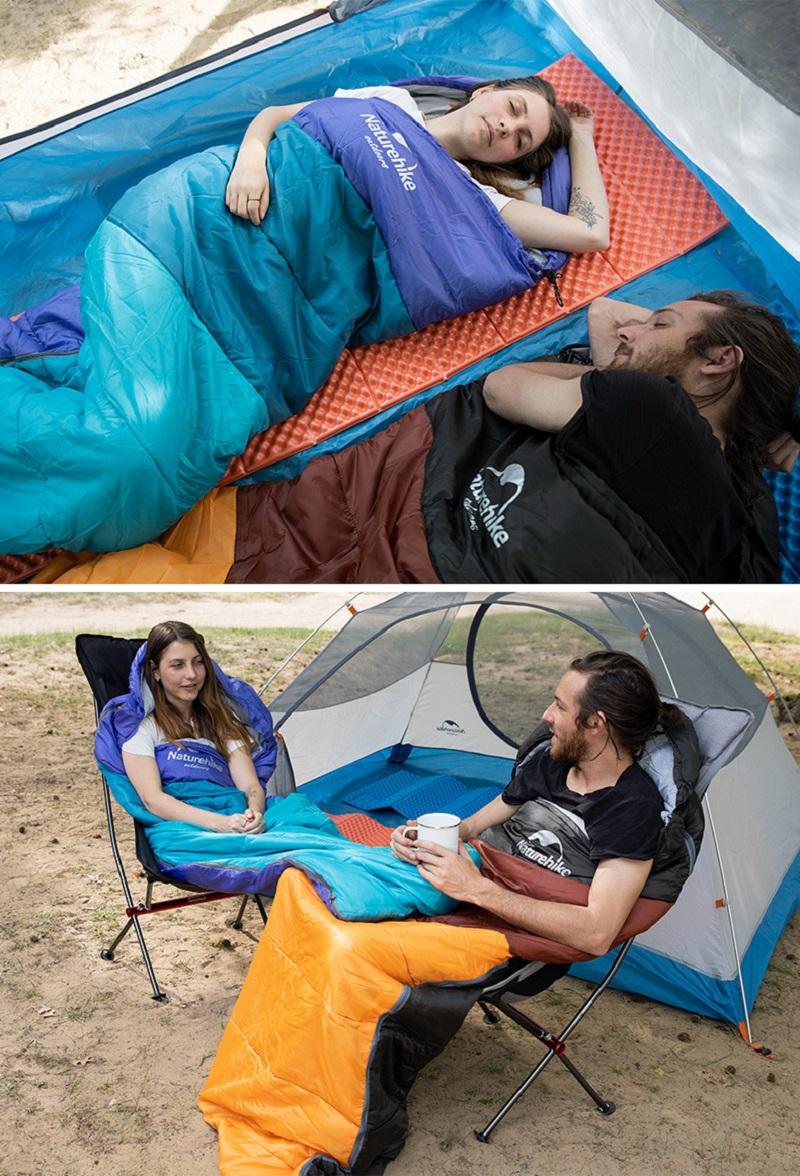 cô gái và chàng trai dùng túi ngủ Naturehike U250 và nằm trên đệm hơi