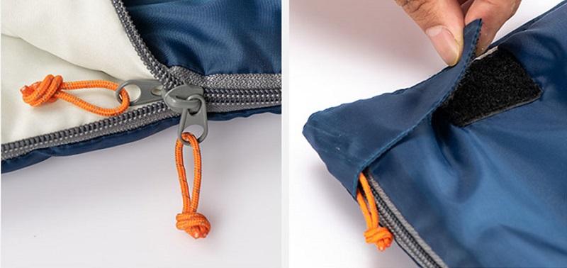khóa kéo và lớp vải ngoài của túi ngủ H150